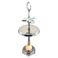 Unique Art Deco Styled Chrome Jet Airplane Lighted Smoker's Stand or Table
