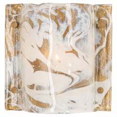 Murano Ice Glass Wall Sconce by Hillebrand, Germany, 1970s