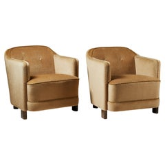 """Pair of Easy Chairs """"Continent"""" Model 217, Anonymous, for Asko, Finland, 1930's"""