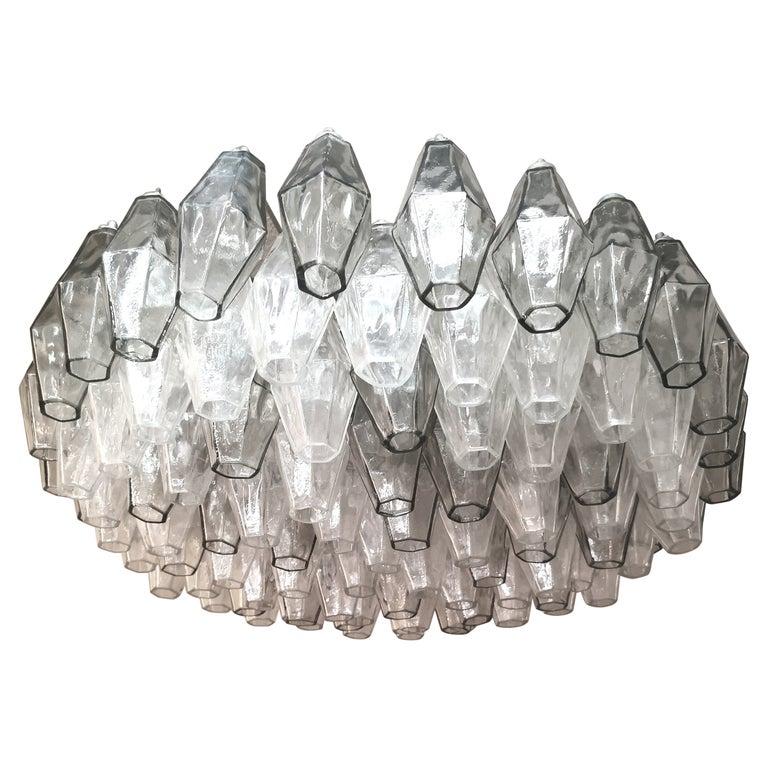 Chandelier Poliedri by Carlo Scarpa for Venini Murano Glass Midcentury Italy 60s