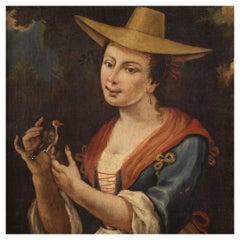 18th Century Oil on Canvas Italian Antique Portrait Painting, 1750