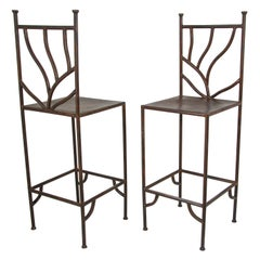 Vintage Wrought Iron Barstools with Back Set of Two Spanish Revival