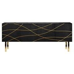 Contemporary Onda Sideboard in Black Ash, Brass, by Railis Design