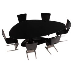 Roche Bobois Black Dining Table and Six Chairs by Sacha Lakic, 2005