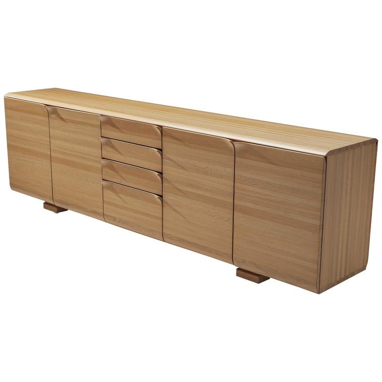 Large Belgian Sideboard in Oak with Folded Handles For Sale