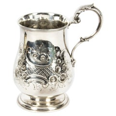 Antique Victorian Silver Plated Mug Elkington & Co and Dated 1845 19th C