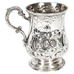 Antique Victorian Silver Plated Mug Round & Son, 19th Century