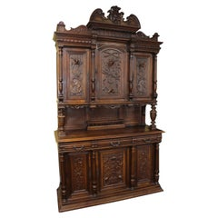 Antique French Carved Walnut Cabinet c.1900