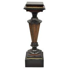 Antique Ebonized Victorian Aesthetic Movement Marble Top Pedestal Plant Stand