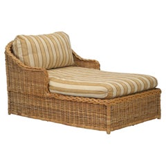 Wicker Chaise Lounge of Exceptional Width