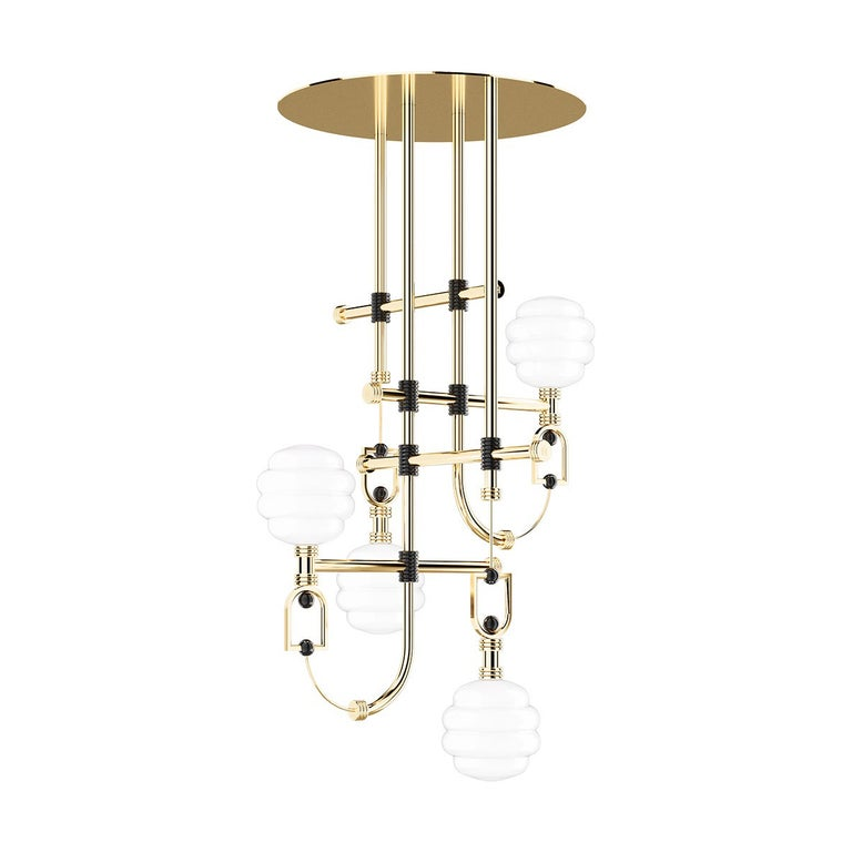 Mid-Century Modern Accent Suspension Lamp in Gold Stainless Steel & Black Detail For Sale