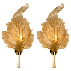 Pair of Wall Sconces Barovier & Toso Gold Glass Murano, Italy
