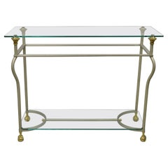 Vintage Maison Jansen Italian Steel Brass Ball & Claw Console Sofa Hall Table