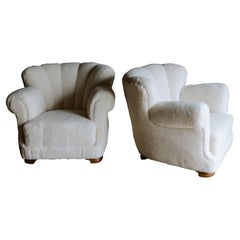 Vintage Pair of Sheepskin Lounge Chairs from Denmark, Circa 1950