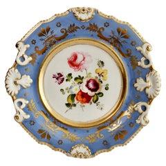 Machin Porcelain Plate, Periwinkle Blue with Flowers, Regency ca 1820