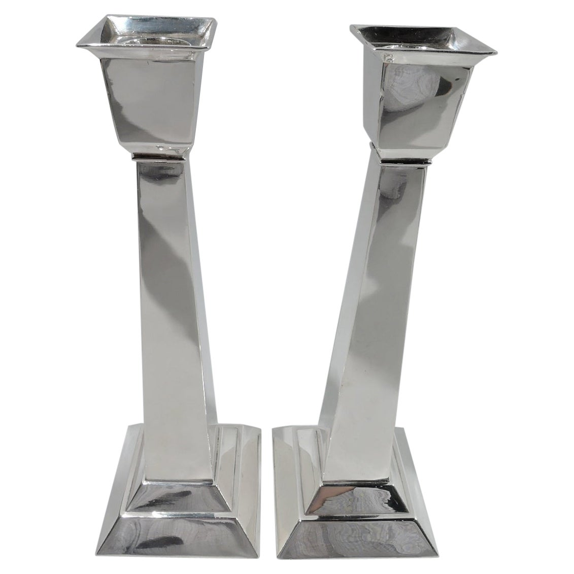 Pair of Kalo Art Deco Classical Sterling Silver Candlesticks