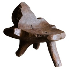 Large Primitive Mountain Stool from France, Circa 1960
