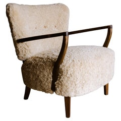 Vintage Sheepskin Lounge Chair from Denmark, circa 1950