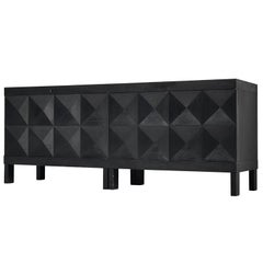 Belgian Sideboard in Black Stained Oak with Graphical Doors