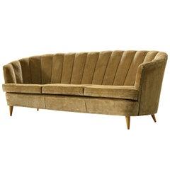 Danish Banana Sofa in Gold Green Velvet Upholstery