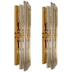 1 of the 4 Venini Style Murano Glass and Gilt Brass Sconces, 1960s