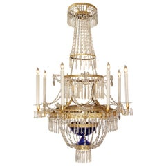 Russian 19th Century Neoclassical St. Crystal and Gilt Nine-Light Chandelier