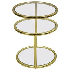 Mid-Century Modern Brass Frame 3 Tier Swivel Milo Baughman Round Side Table