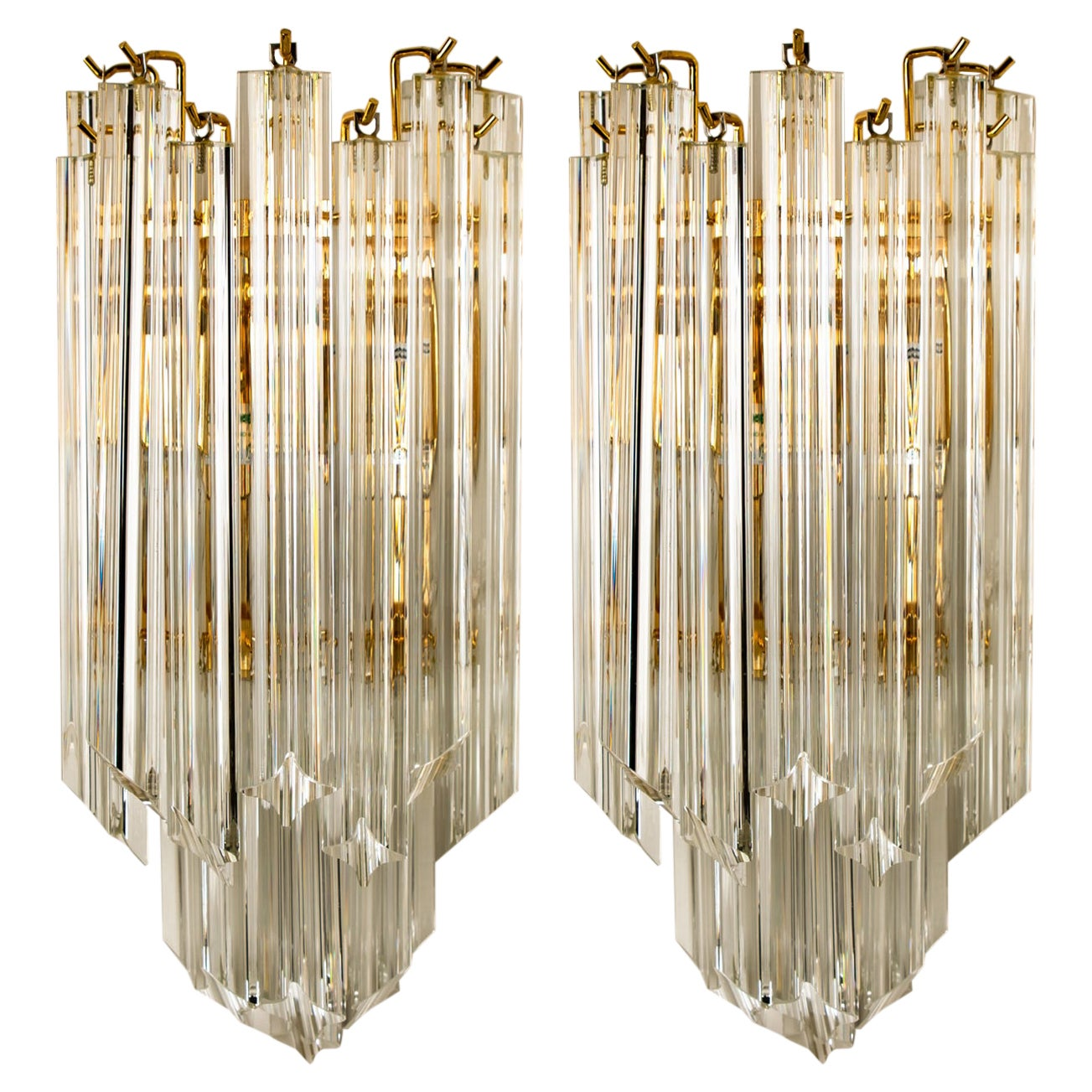 Pair of Venini Style Murano Glass and Gilt Brass Sconces, 1960s