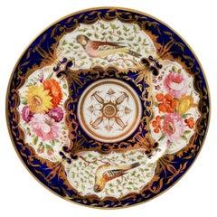 Coalport Porcelain Plate, Cobalt Blue and Birds Patt. 759, Regency ca 1815