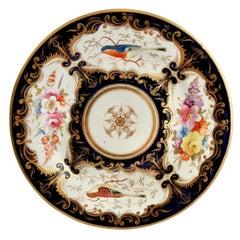 Porcelain Plate Coalport, Cobalt Blue and Birds Patt. 759, Regency ca 1815