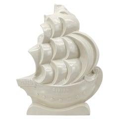 Lejan French Art Deco Crackle Glaze Ceramic Ship Sculpture at Orchies's, 1930