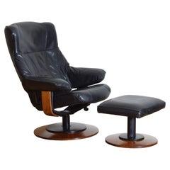 Italian Wooden & Flat Black Leather Upholstered Reclining Armchair & Ottoman
