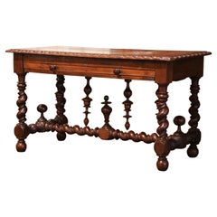 18th Century French Louis XIII Carved Oak Barley Twist Table Desk with Drawer