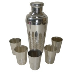 Large French Silver Plated Cocktail Shaker / Set c.1940