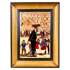 "Mid Century Enamel Painting, ""At The Wailing Wall"", Jerusalem, ca. 1950, Signed"