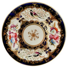 Porcelain Plate Coalport, Birds, Flowers, Cobalt Blue Patt. 759, Regency ca 1815