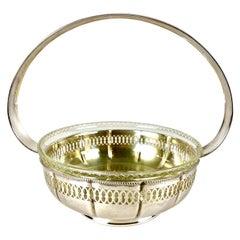 Art Nouveau Silvered Brass Basket with Glass Bowl, Austria, circa 1910
