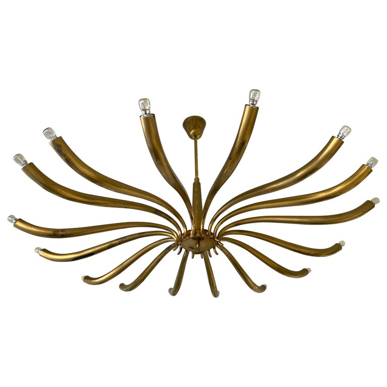 Brass Sun Chandelier by Guglielmo Ulrich, Italy, 1960s
