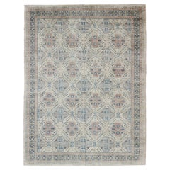 Afghan Khotan Rug with All-Over Geometric Pattern in Pink and Light Blue