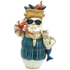 Fish King Sunglasses, Decorative Centerpiece Handmade Italy 2020, Hand-Crafted