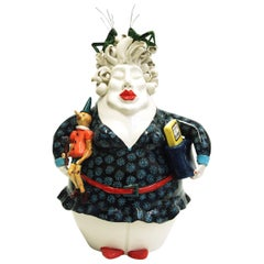 Pinocchio Design Lady, Decorative Centerpiece Handmade Italy 2020, Hand-Crafted