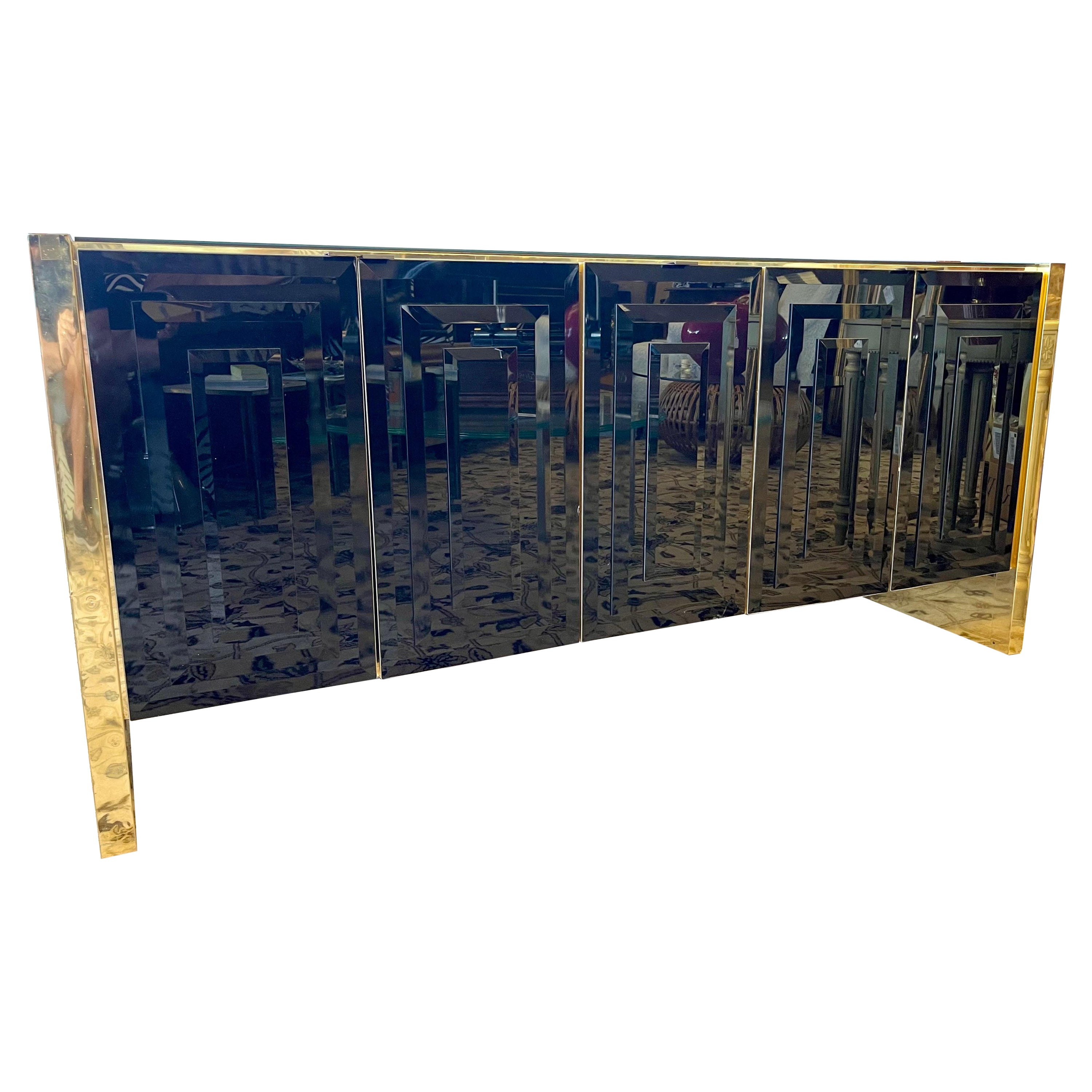 Pace Black Glass and Gold Chrome Credenza Buffet Bar Sideboard Cabinet