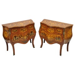 French Louis XV Styl Marquetry Inlay Bombe Commode Chest Bedside Table, a Pair