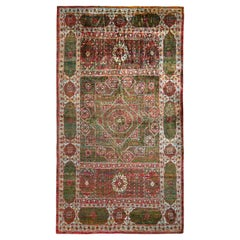 Rug & Kilim's Transitional Style Rug in Red & Green Medallion Floral Pattern