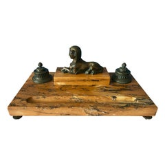 19th Century Egyptian Revival Sienna Marble Inkstand