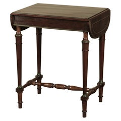 19th Century French Mueche Mahogany Drop Leaf Occasional Table with Brass Inlay