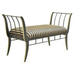 Vintage Heavy Iron Regency Black Gold Saber Leg Window Bench by Bloomingdales