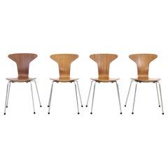 Set of 4 Arne Jacobsen Mosquito Chairs Model 3105 in Teak by Fritz Hansen, 1967
