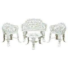 Vintage Victorian Grapevine Cast Aluminum Garden Patio Set Table Chair, 4pc Set