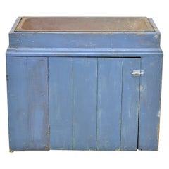 Antique Primitive Blue Distress Painted Cupboard Cabinet Vanity Cast Iron Sink
